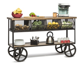 Kitchen Trolley Island Bench Vintage Rustic Industrial Retro Etsy