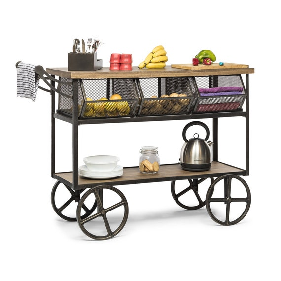 Kitchen Space Saver Trolley Storage Vintage Industrial Kitchen Cart Island  Trolley with Wood Top