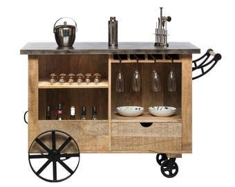 Industrial Bar Cart Cabinet Drinks Trolley Wine Storage Bar Trolley