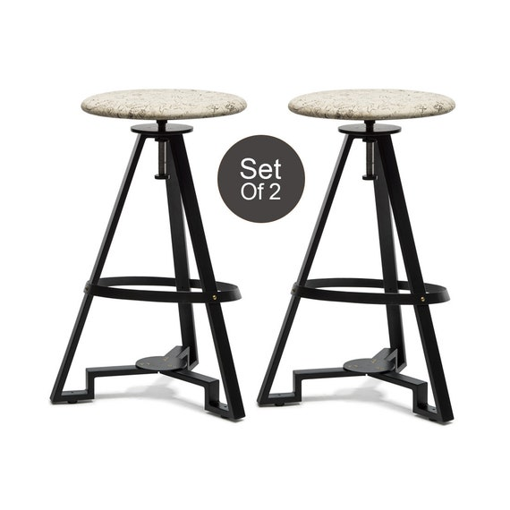 Fabulous Contemporary Bar Stool Kitchen Counter Bench Dining Swivel Height Adjustable Stool With Map Printed Fabric Top Set Of 2 Ibusinesslaw Wood Chair Design Ideas Ibusinesslaworg