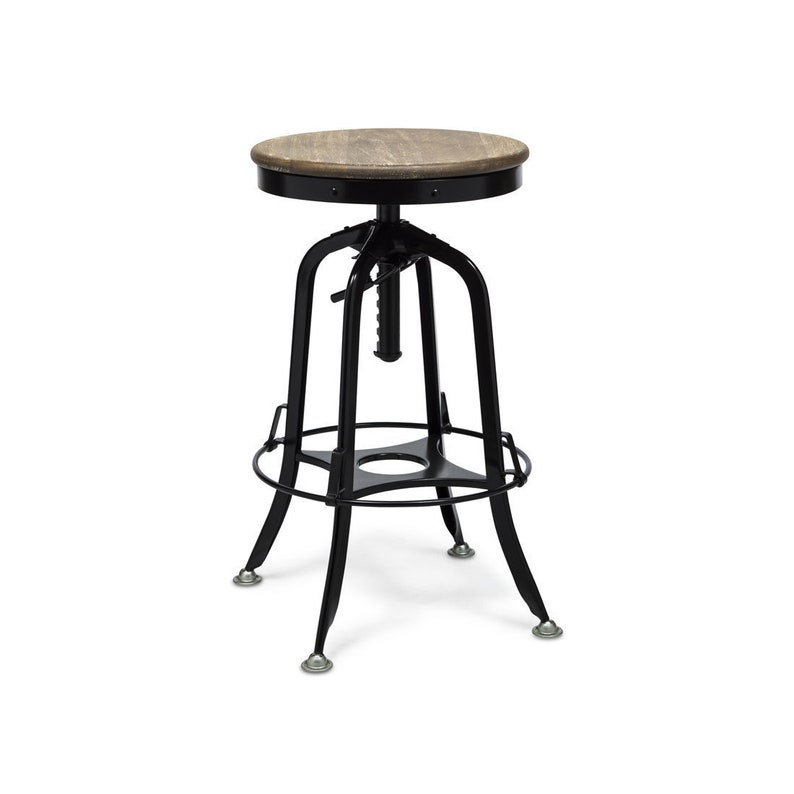 Industrial Bar Stool Iron Vintage Retro Kitchen Chair Breakfast Counter Bar Stool With Rustic Wood Top