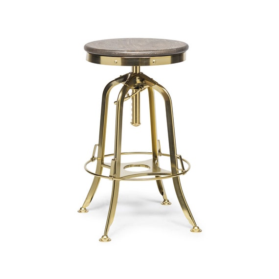 Awesome Bar Stool Swivel Height Adjustable Retro Iron Gold Finish Kitchen Dining Counter Stool With Oak Top Uwap Interior Chair Design Uwaporg