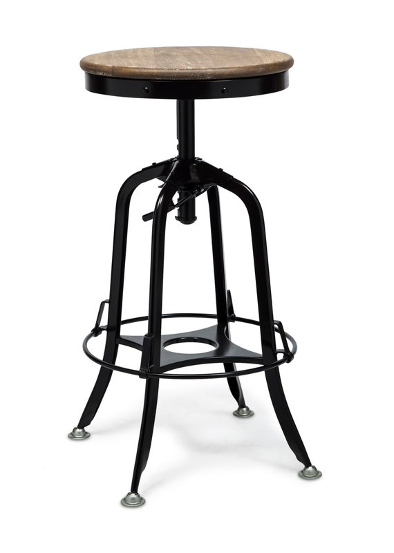 Strange Industrial Bar Stool Iron Vintage Retro Kitchen Chair Breakfast Counter Bar Stool With Rustic Wood Top Ibusinesslaw Wood Chair Design Ideas Ibusinesslaworg