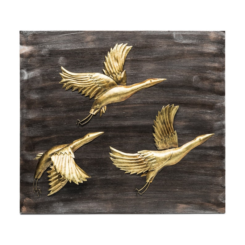 Wall Art Birds Decor Decal Mural Living Office Cafe Metal Etsy