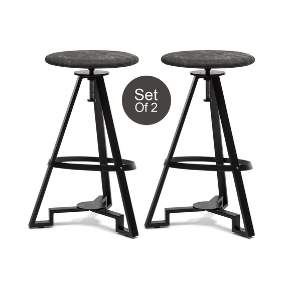 Miraculous Bar Stool Modern Contemporary Height Adjustable Swivel Dining Counter Kitchen Stool With Stone Wash Fabric Top Set Of 2 Squirreltailoven Fun Painted Chair Ideas Images Squirreltailovenorg