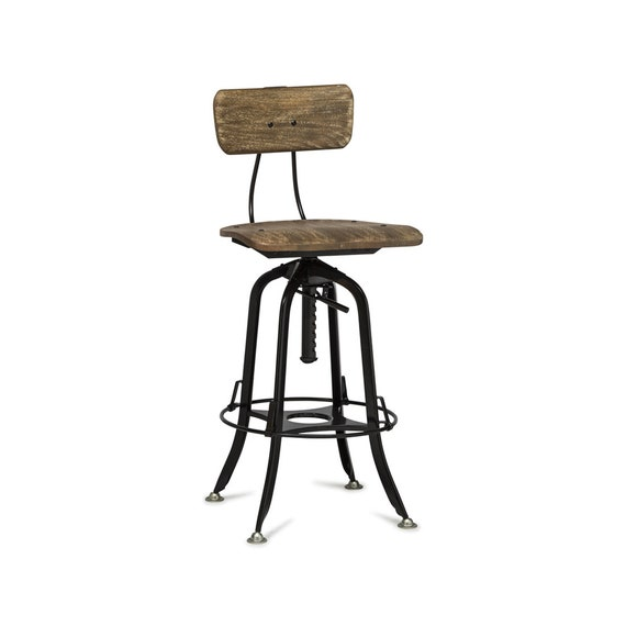 Fine Industrial Bar Stool Chair With Backrest Adjustable Swivel Wooden Iron Bar Stool Chair With Black Rustic Finish Inzonedesignstudio Interior Chair Design Inzonedesignstudiocom