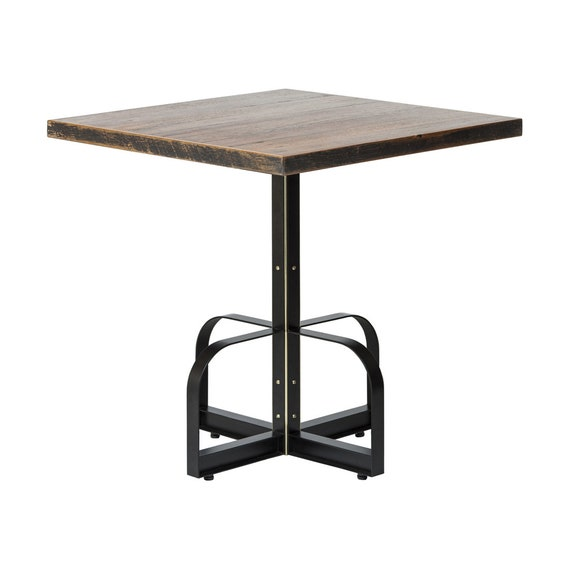 Tremendous Square Iron Bistro Cafe Bar Dining Table With Reclaimed Wood Top Country Vintage Style Customarchery Wood Chair Design Ideas Customarcherynet