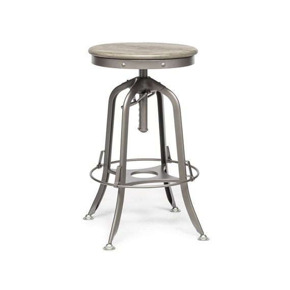 Miraculous Industrial Vintage Rustic Bar Stool Retro Adjustable Swivel Dining Kitchen Counter Stool With Oak Wood Top Squirreltailoven Fun Painted Chair Ideas Images Squirreltailovenorg