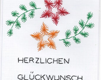 Birthday card in Yarn graphics technology