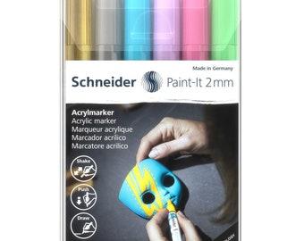 Schneider Acrylic Paint-It 2mm Marker Set (Set 2), Set of 6 Pens, Makers Line, Molotow Technology, Craft Pen