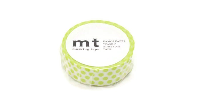 Gift Wrapping Planner Supplies Planner Accessories Stationery Lime Green Polka Dot Washi Tape MT Masking Tape