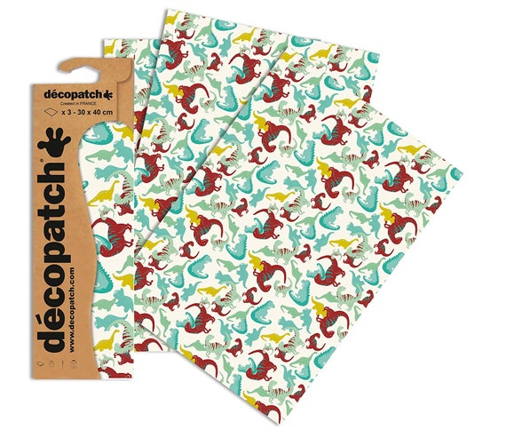 Decopatch Decoupage Mosaic Coloured Paper Pack of 3