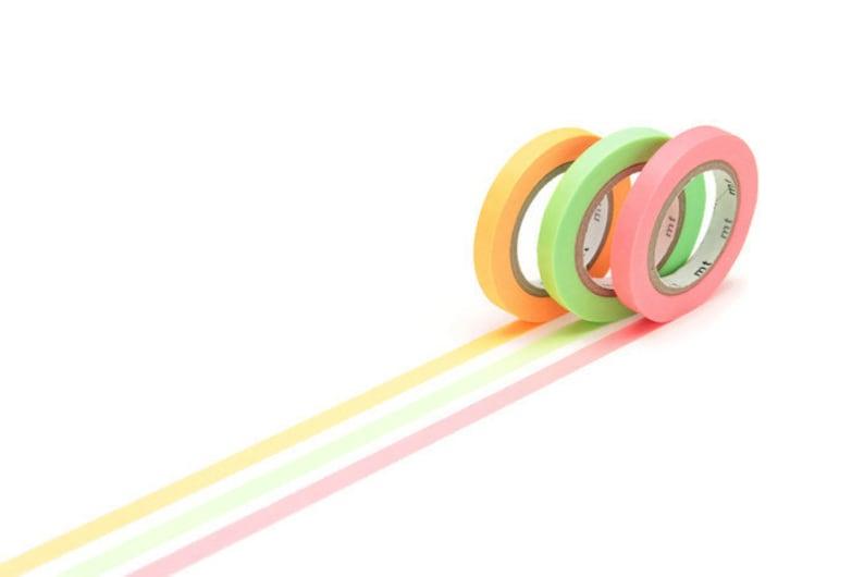 Bullet Journal Planner Addict Planning Supplies Neon Slim 6mm Washi MT Tape Planning Orange Green Plan Planner Accessories Pink