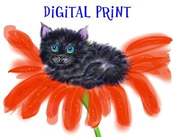 Printable Wall Art//Digital Art - Spookie in a Flower #1