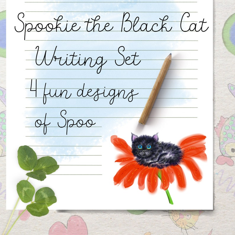 Writing paper cat stationery Spookie the Black Cat image 0