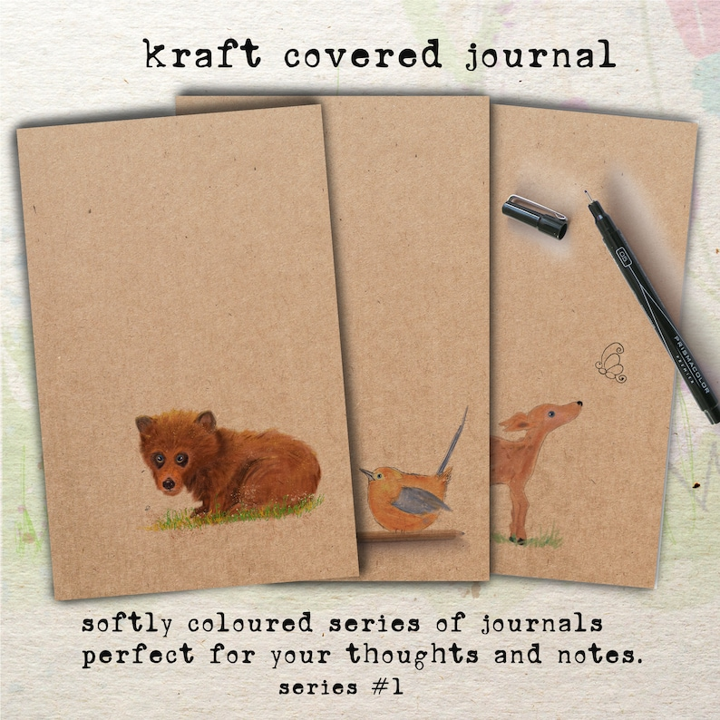 Handmade Kraft covered Journals Softly Coloured Series 1 image 0