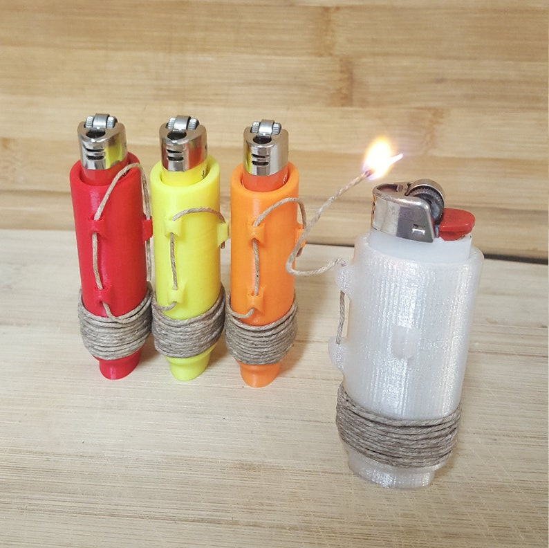 BIC lighter sleeves with hemp wick
