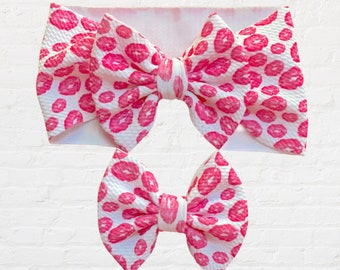 XOXO Hearts and Kisses Hair Bow with Black Nylon Headband Gift for Infants Baby Toddler Child Girls Teens AdultsHer