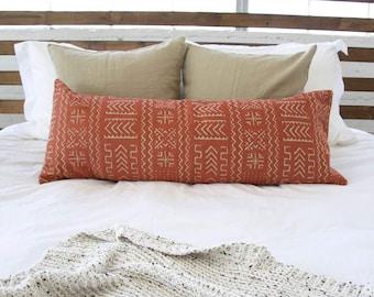 Tribal Rust And Cream Extra Long Lumbar Pillow - 14X36 inches
