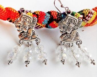 Honduras Jewelry, clear earrings, wine string art, birthday gifts for her Latina, bohemian earrings, Bridesmaid gift, Aztec silver Earrings