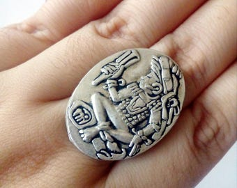 Gift for Women, Mayan Ring, Aztec Silver Ring, Statement Jewelry, Mayan Jewelry, Aztec jewelry, Tribal Ring, Vintage Style, Mexican Jewelry