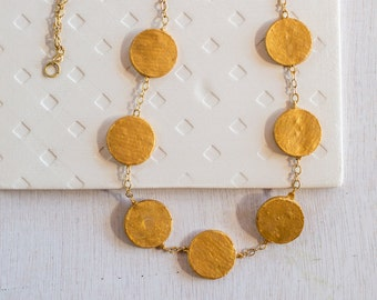 Coin Necklace, Bohemian Necklace, Goldfilled Necklace, Unique Necklace, Ethnic Necklace, Art Necklace, Recycled Jewelry, Paper Art Jewelry