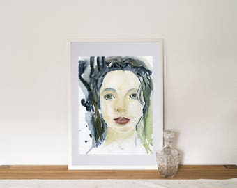 Original watercolor, portrait, girl, realistic and abstract
