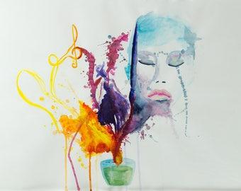 PRINT - Dreamcandle, Aquarell, Watercolor,