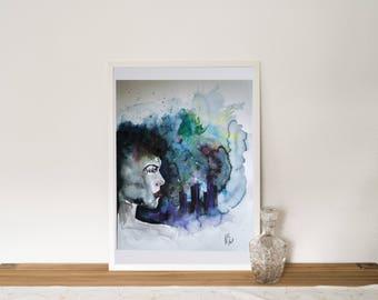 PRINT - Distance, Aquarell, Watercolor,