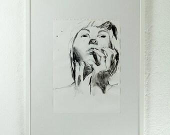 Original ink drawing, portrait