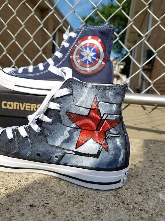 Youth Captain America Winter Soldier Painted Converse Shoes
