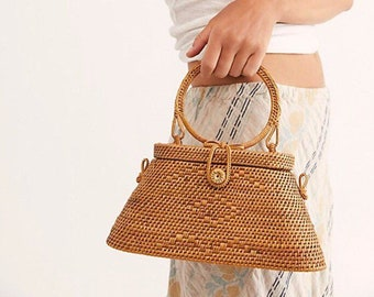 ECO Womens Woven Top Handle Purse with Leather Crossbody Strap