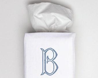 Monogrammed Tissue Box Cover, White Linen