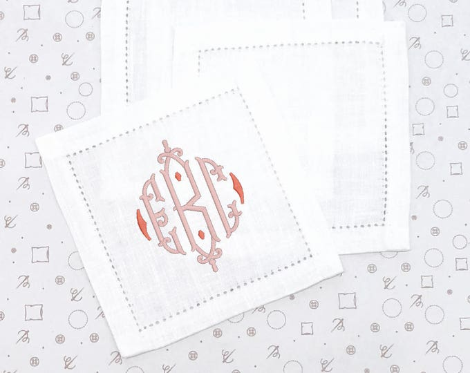 Featured listing image: Monogrammed Cocktail Napkins, White (Set of 4)