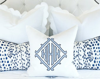 "Monogrammed Pillow Sham, 20"" Square White Linen"