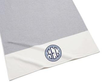 Monogrammed Beach Towel, Indigo Color Block