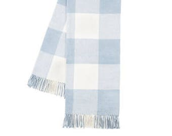Buffalo Check Throw, Baby Blue (Monogrammed)