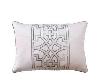 "Pink Fretwork Pillow, 14"" x 20"""