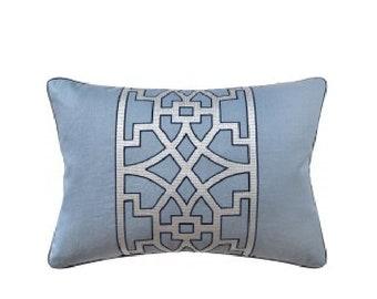 "Fretwork Pillow, 14"" x 20"""