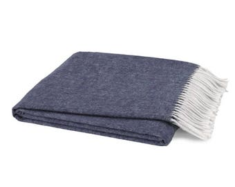 Monogrammed Throw, Indigo
