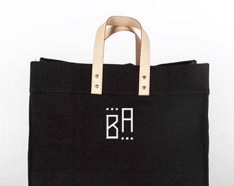 Monogrammed Box Tote, Black