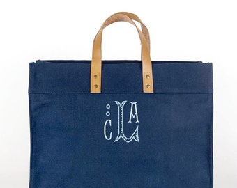 Monogrammed Box Tote, Navy