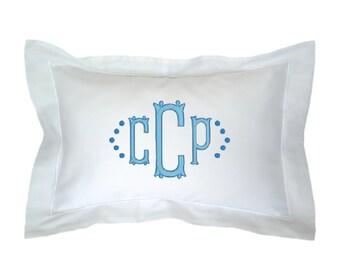 Monogrammed Boudoir Pillow Sham, White