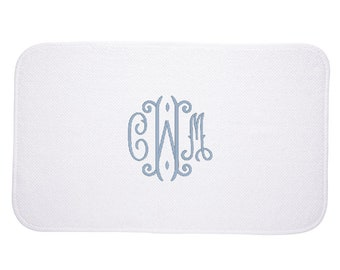 Monogrammed Bath Mat, White Terry