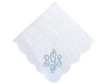 Monogrammed Scallop Handkerchief, White