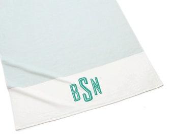 Monogrammed Beach Towel, Seaglass Color Block