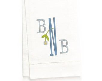 Bowman Monogram Hand Towel, White Linen