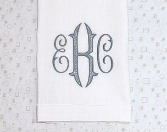Monogrammed Leonard Guest Towel, White