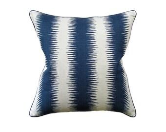 """Navy Stripe Pillow, 22"""" x 22"""""""