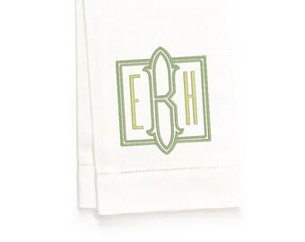 Irving Monogram Hand Towel, White Linen